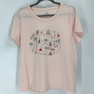 J Crew Collector Tee  Pink Featuring Paris Icons